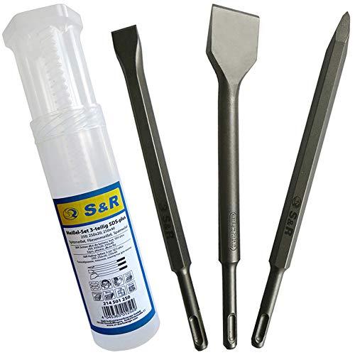 S&R Juego Cinceles SDS-Plus 250mm: Cincel largo, a punta,
