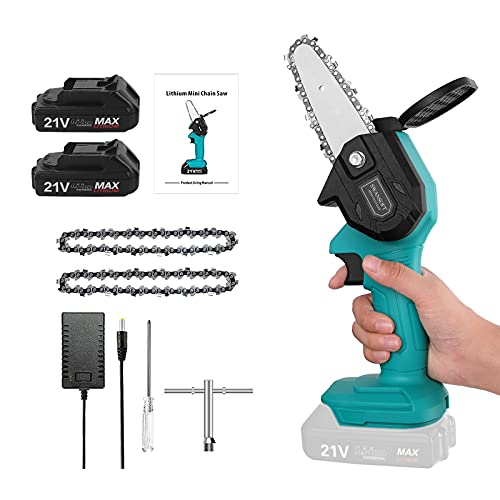 Mini Chainsaw Cordless 4 Inch, Battery Powered Small Portable Chainsaw, Handheld Lightweight Electric Chainsaw for Wood Cutting and Tree Trimming
