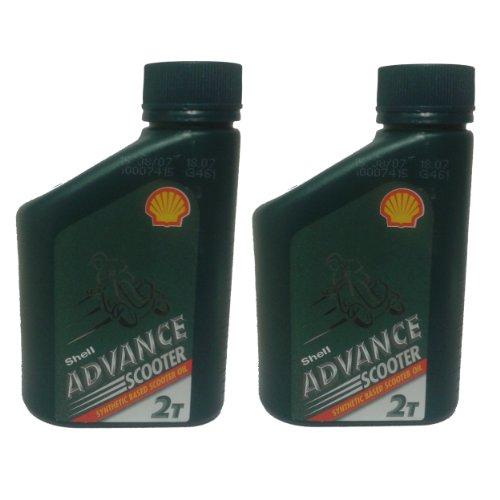 Shell Advance 2-Takt-Motor Teilsynthetisches Öl 500ml, für Scooter Rasenmäher Kettensäge (2Stück)