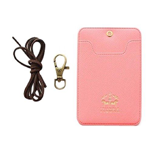 Novago Porta Badge - Porta biglietto da visita - Porta Titoli di trasporto - ID Badge (Rosso)