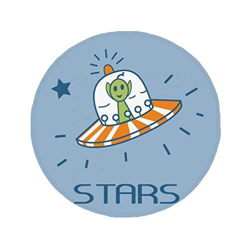 DIYthinker Universe et Alien Voyage parmi les étoiles antidérapant Tapis de Pet de sol rond de salle de bain salon Porte de cuisine 80 cm Cadeau