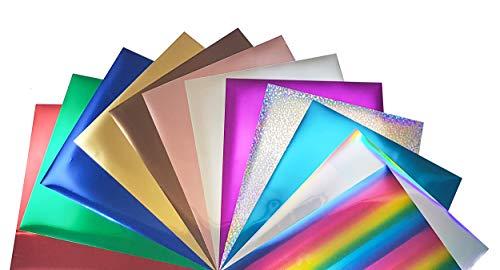 VEENYL SHOP Metallic HTV Stretchable Foil Heat Transfer Vinyl Bundle (A) 10