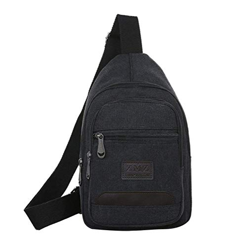 Mochila masculina transversal de lona, bolsa tiracolo, com bolsos de zíper, antifurto, grande capacidade (cáqui), 1 unidade, Preto, Medium