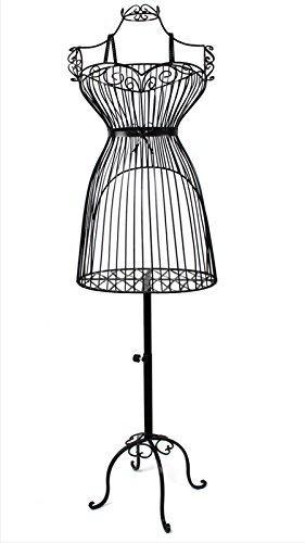 Yudu Metall Schaufensterpuppe Schneiderpuppe Dekobüste Kleiderständer Draht Torso (schwarz)