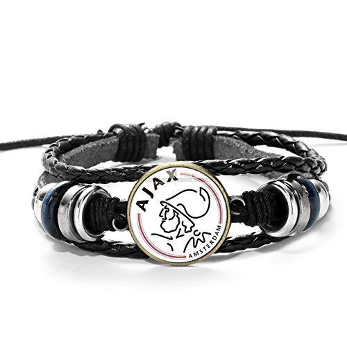 Inveroo Ajax Football Club Logo Armband Sammlung Holzperlen Multilayer Lederarmband Fans Geschenk für Männer Jungen Manschette Armband