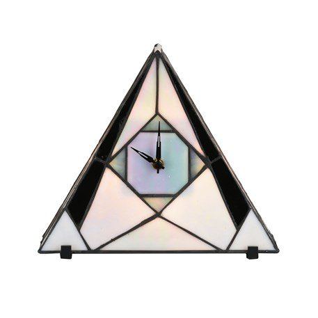 Tiffany Horloge et Lampe de Table French Art Deco Pearl Geometric