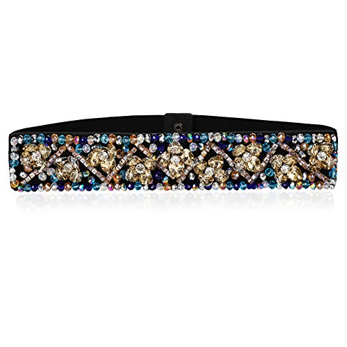 Dorchid Rhinestone Belts for Women Fashion Crystal Beaded Elastic Wide Belts for Prom Evening Dresses Champagne S/M