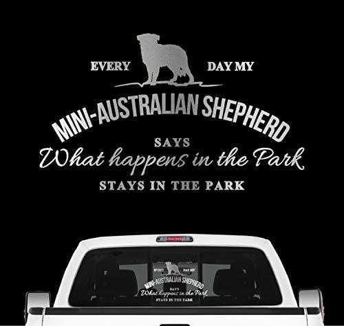 Siviwonder Mini Australian Shepherd Vintage Hundeaufkleber Hundemotiv Auto Folie Aussie Farbe Silber, Größe 20cm