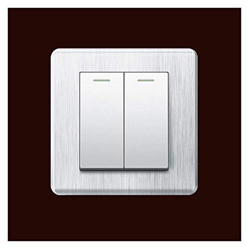86 Tipo Casa Rocker Interruptor de Rocker Switch de Panel Cepillado 3D Anti-Rust a Prueba de Polvo Durable Rocker Interruptor Consumer Comercial Lámpara de Pared Controlador de Interruptor de Control