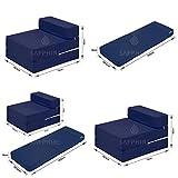 Zafiro Z cama individual plegable silla cama huésped plegable futón con cremallera extraíble sofá colchón 100% algodón - azul marino