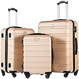 COOLIFE Hartschalen-Koffer Trolley Rollkoffer Reisekoffer mit TSA-Schloss und 4 Rollen(Gold, Koffer-Set)