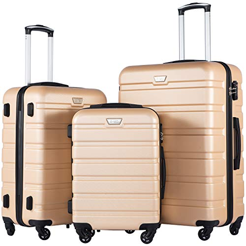 COOLIFE Luggage 3 Piece Set Suitcase Spinner Hardshell Lightweight TSA Lock (champagne new)
