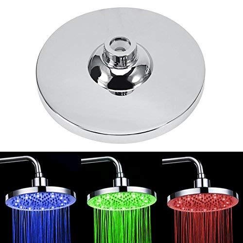 """Baño de Acero Inoxidable de Lluvia Redonda de 8""""Pulgadas Lámpara de luz LED RGB Cabezal de Ducha Rociador Superior Cabezal de Ducha con luz LED Fácil de Instalar"""