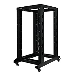 """4-post Open Frame Rack Includes casters (can also floor mount) Supports standard 19"""" rack mount equipment 47""""H x 23.5""""W x 31.5""""D Rack Depth: 12"""" - 24.5"""" (adjusts in 1.5"""" increments)"""
