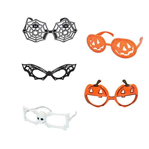 Stobok - Marco de gafas de Halloween, 5 unidades, 15 x 15 cm, divertido murciélago, diseño de calabaza, tela de araña, disfraz de Halloween para Halloween, para fiestas