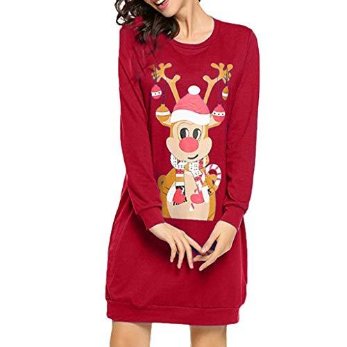 Goosuny Weihnachtskleid Damen Langarm Rentier Pullover Kleid Weihnachten Winterkleider Lose Sweatkleid Minikleid Weihnachten Frauen Kleider