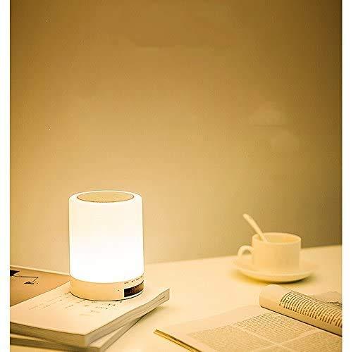 LJ Lámpara de Mesa/Lámpara de Mesilla-Creativa con Bluetooth Estéreo Carga de Luz Nocturna Música Táctil Sueño Romántico Lámpara de Escritorio Inalámbrica Dormitorio Mesilla de Noche Tifón