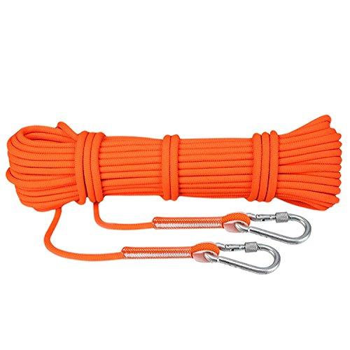 Corda da Arrampicata Fune di Sicurezza Attrezzature di Soccorso Corda Professionale Outdoor Rock Climbing Diametro 8mm, 9KN (900KG) con Ganci Orange (10M)