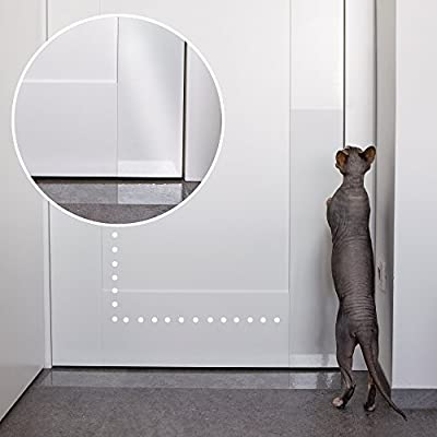 Pet Scratch Protector w/Custom-Cut Knife - Door Guard + Wood, Wall & Furniture Shield for Dog & Cat Scratching Deterrent, Defender & Repellent w/Super Sticky Self-Adhesive Backing by PROTECTO