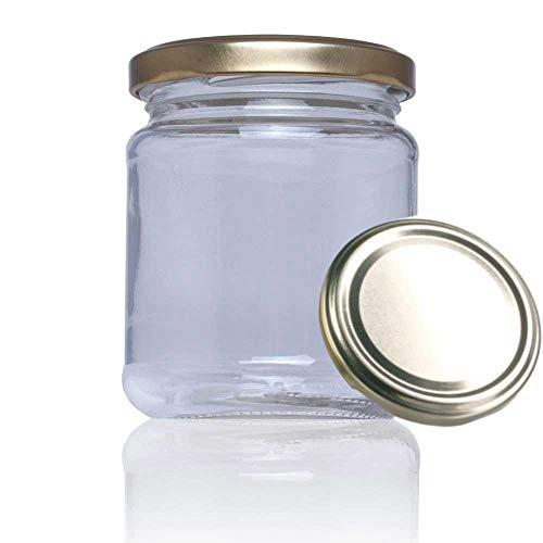 Tarro de Cristal con Tapa incluida de Cocina para conservas chuches Miel. Tarros pequeños Reserve 228 ml para congelador (17 Unidades)
