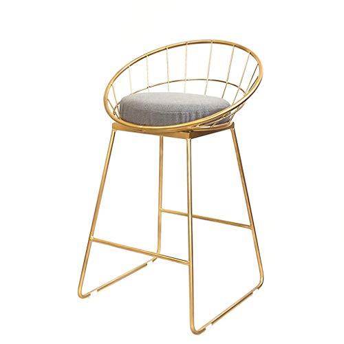 MH Barhocker Eisen Barhocker, Moderne Barhocker, Gold hochwertige Stoffmatte und Schmiedeeisen-Baugerüst, geeignet für Theke, Küchenbar, Sitzhöhe 45/65 / 75cm Barhocker (Size : Sitting height65cm)