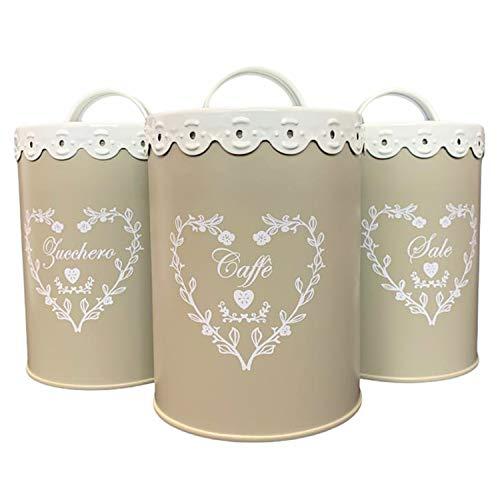 Tris Barattoli da Cucina in Latta, Stile Shabby Chic MOD. Romantic, Sale Zucchero caffè | Set da 3 barattoli Porta Sale Zucchero caffè 15 cm