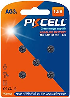 PKCELL 5 Count LR41 1.5V Button Cell for Digital Thermometer AG3 392 Batteries