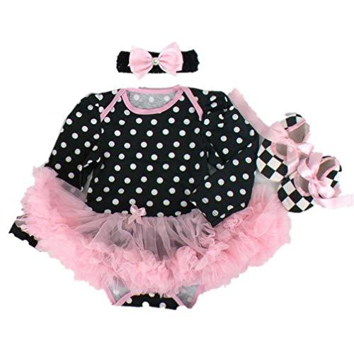 Een set van 22 inch Kinderen Veranderende Poppenkleertjes Tutu Jumpsuit zwart-wit Stippen Patroon Klimpak