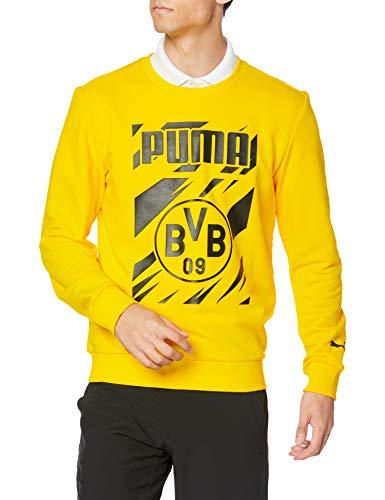 PUMA BVB Ftblcore Graphic Crew Sweat Sudadera, Hombre, Cyber Yellow Black, M