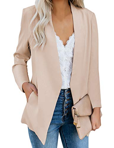 GRAPENT Women's Apricot Open Front Business Casual Pocket Long Sleeves Work Office Blazer Jacket Suit Cardigan Outerwear Medium US 8-10