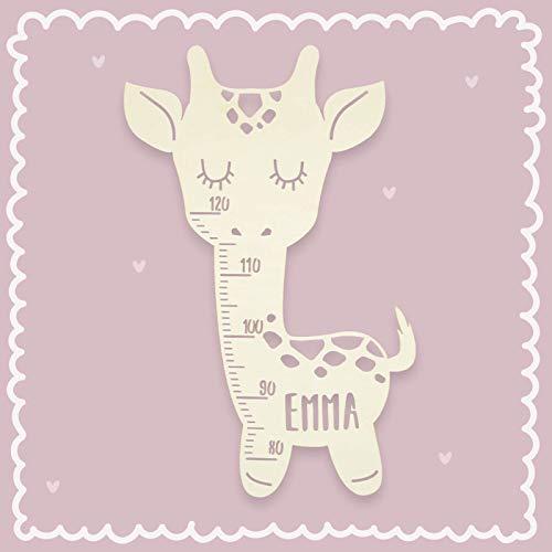 Messlatte für Kinder Holz Modell Giraffe Kinderzimmer-Messlatte/Tauf-Geschenk oder zur Geburt/Kindermesslatte personalisiert mit Wunsch-Name für Mädchen oder Junge Design by HeLLo Mini