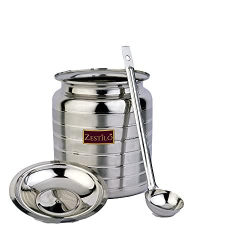 ZESTILO Stainless Steel Oil / Ghee Jar Container Platinum Finish (750 ml)