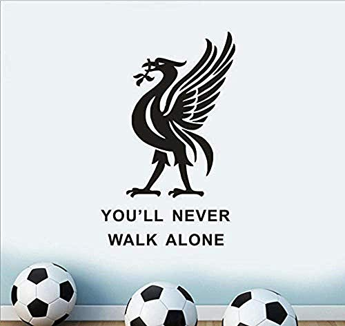Brillint Yy Liverpool Football Club Wall Sticker You Ll Never Walk Alone Inspiration Quote Wall Poster Soccer Player Wall Decals Gift 42X71Cm