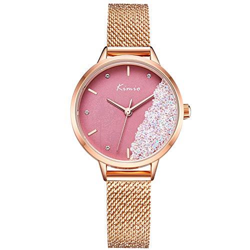 RORIOS Mujer Relojes Cuarzo analógicos Relojes con Correa en Mesh Acero Inoxidable Minimalista Elegante Reloj Damas Moda Vestir Reloj