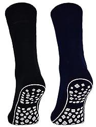 Women's & Men's ABS Socks Anti-Slip Socks Stopper Socks Stud Socks - 44441 (Black / Blue / Gray 43-46, 2 Pairs)
