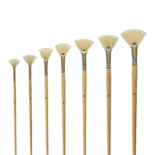 7 Künstlerpinsel Fächerpinsel für Ölfarben Acrylfarben Fächer Pinsel Set