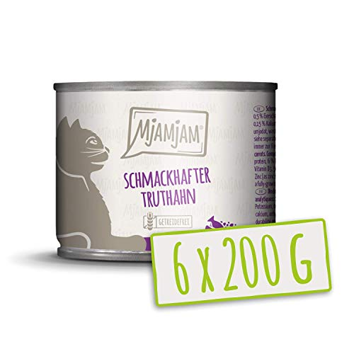 MjAMjAM - Pienso acuoso para Gatos - Sabroso Pavo sobre deliciosas Zanahorias - Sin Cereales - 6 x 200 g