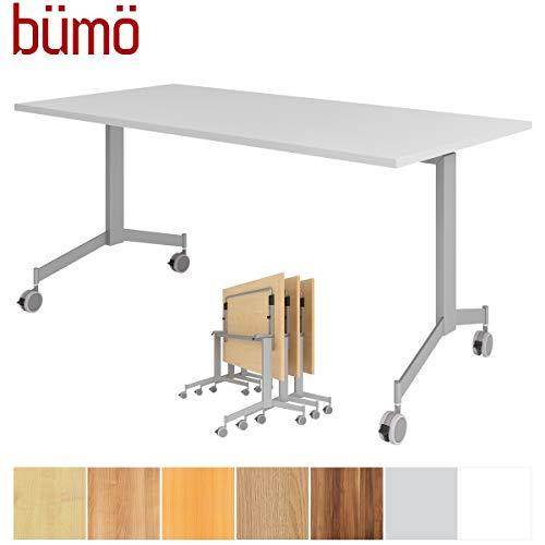 Bümö Inklapbare tafel verrijdbaar 160 x 80 cm - mobiele vergadertafel inklapbaar & oprolbaar | Meetingtafel massief met wielen 160 x 80 cm grijs