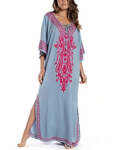 Orshoy Damen Strandkleider Lang Kimono Badeanzug Cover Ups Sommerkleid Sommer Maxikleid für Urlaub und Strand Sommer Baumwolle Blumenstickerei...
