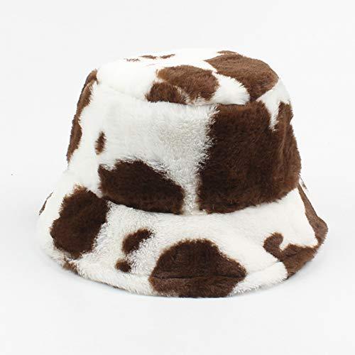 Solid Bucket Watch Caps  Foldable Fisherman Hats Milk Pattern  Winter Warm Hats for Women  Flat Top Breathable Bucket Hats  Short Cuff Beanie,#3