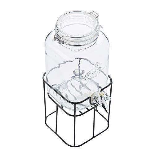 Point-Virgule 3,6L Getränkespender Dispenser aus Glas mit Zapfhahn und Metallhalter, Ständer in Weckglas-Optik