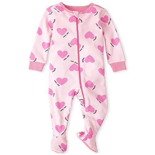 The Children's Place Baby and Toddler Girls Family Heart Snug Fit Cotton One Piece Pajamas, Cameo, 12-18MOS