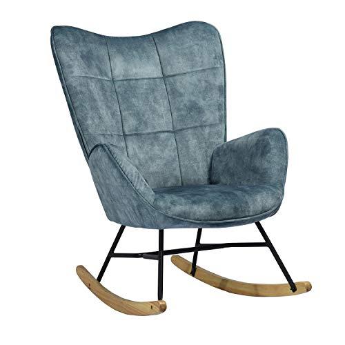 MEUBLE COSY Sedia a Dondolo Moderna Poltrona Relax con Braccioli E Alto Schienale per Soggiorno, Tela, Blu, 69x84x97 cm
