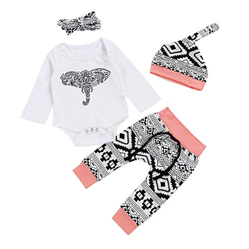 Baby Girl Clothes Newborn Infant Outfits Long Sleeve Ruffle Romper+ Floral Pants Clothes Sets (Pink, 9-12M(100))