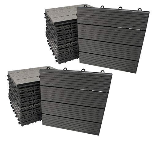 WPC Fliesen, 30x30cm, grau, 22 Stück = 2 m², Terrassen-Fliese mit Schnellverbinder in Holz-Optik und Dielen-Design, Klick Boden-Fliese (22 Fliesen = 2m²)