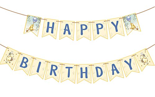 Winnie The Pooh Inspired Happy Birthday Banner Party Supplies for Honey Tree Party Baby Shower Set of 1