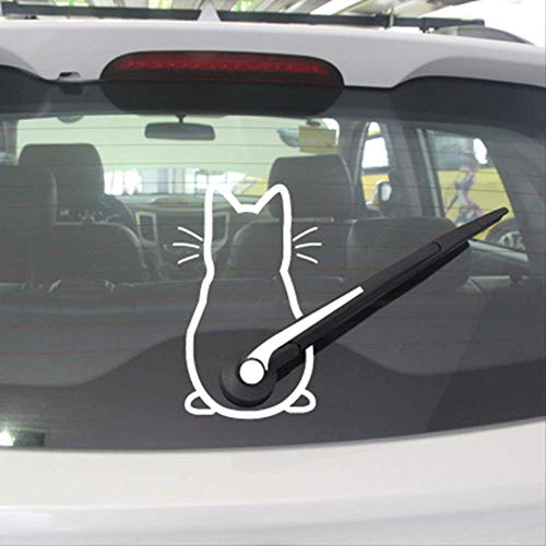muurstickers,Cute Kitty Cat Auto Ruitenwisser Vinyl Art Sticker, Decor Mooie Animal Cat Muurschilderingen Art Decal Voor Auto Raamdecoratie 32cmx20cm Bruin