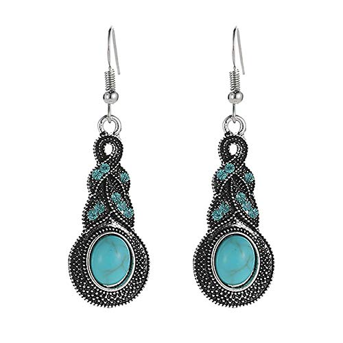 Bohemia - Pendientes de gota para mujer, diseño geométrico, color verde turquesa
