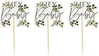Miss Lovely Cupcake-Sticks Kuchen-Stecker Muffin-Deko-Picker Hey Baby Botanical Eukalyptus Blätter grün Holz-Stäbchen Baby-Party Baby-Shower-Party Taufe Geburt Mädchen Junge Accessoires
