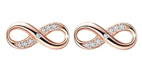 Modisch Unendlichkeitssymbol Damen Mädchen Infinity Ohrstecker, 925 Sterling Silber Zirkonia Ohrringe Ohrschmuck, Elegant Diamant Schmuck, Rosegold